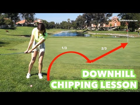 [Golf with Aimee] Golf Lesson 037: Downhill Lie Chipping (명품스윙 에이미 조- 내리막 경사 칩샷 레슨 한국말 자막)