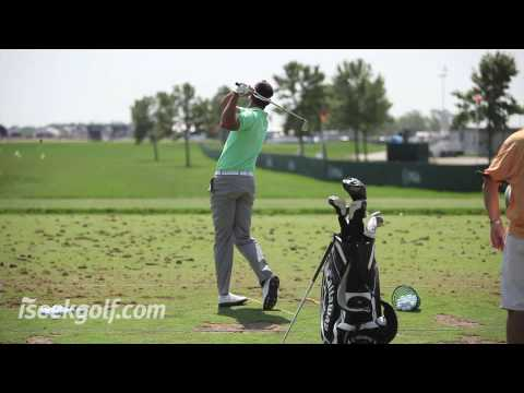 Alvaro Quiros Golf Swing (Side and Back) @ 2009 US PGA