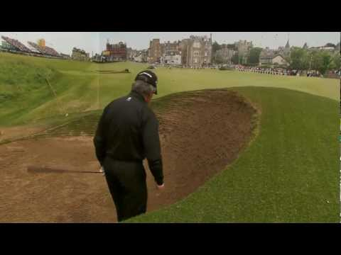 Gary Player at the Road Hole bunker