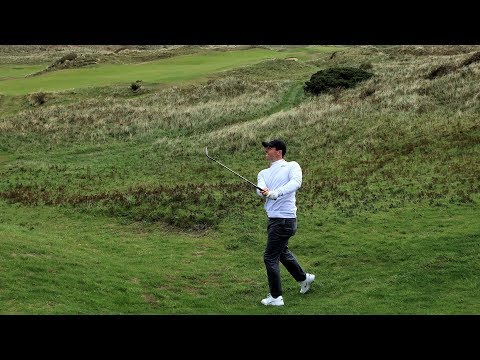 Rory takes on the new 8th hole at Royal Portrush
