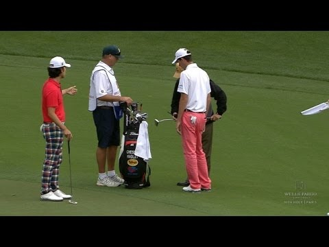 Chesson Hadley's caddie falls and bends putter at Wells Fargo