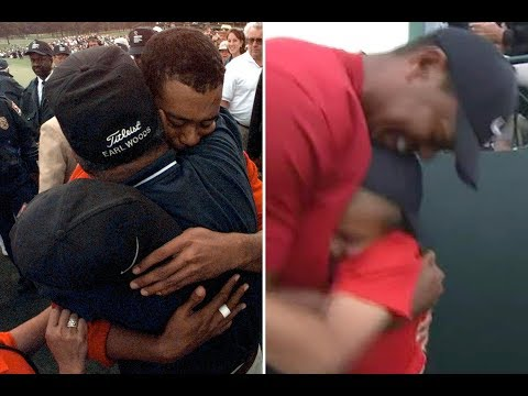 Tiger Woods celebrates Masters win by hugging son Charlie, 22 years after he did same with his