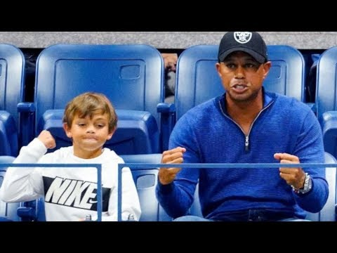 US OPEN: Tiger Woods & Son cheer on Rafael Nadal | Highlights of Tiger Woods