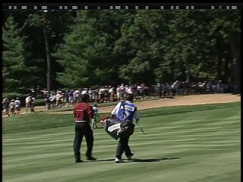 Tiger Woods with a beautiful high cut at Medinah in 1999