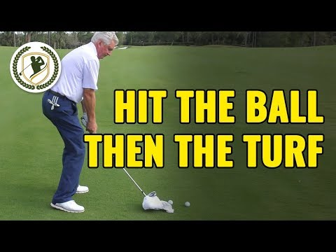 HOW TO HIT THE BALL THEN THE TURF WITH YOUR IRONS – GOLF DRILLS!