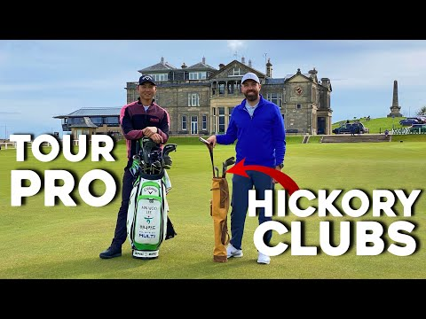 Playing St Andrews BACKWARDS using hickory (wooden) golf clubs